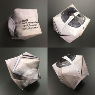 NASA's origaBEAMi paper model inflated upon completion of folding.