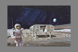 An artist's depiction of what a future moon base could look like, as envisioned in 1978.