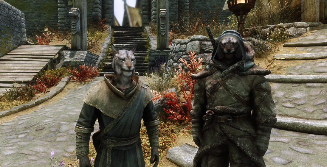 Two khajiit side by side in the Skyrim Together mod