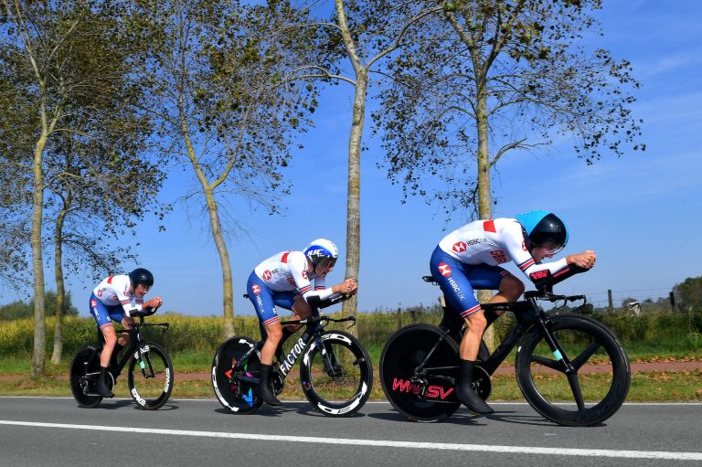 The British squad during the Worlds TTT