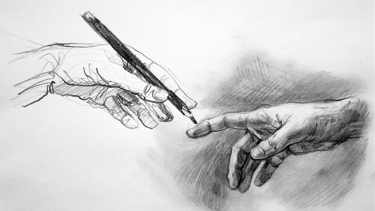 Black and white sketch of two hands and a pen