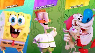Characters brawling in Nickelodeon All-Stars Brawl.