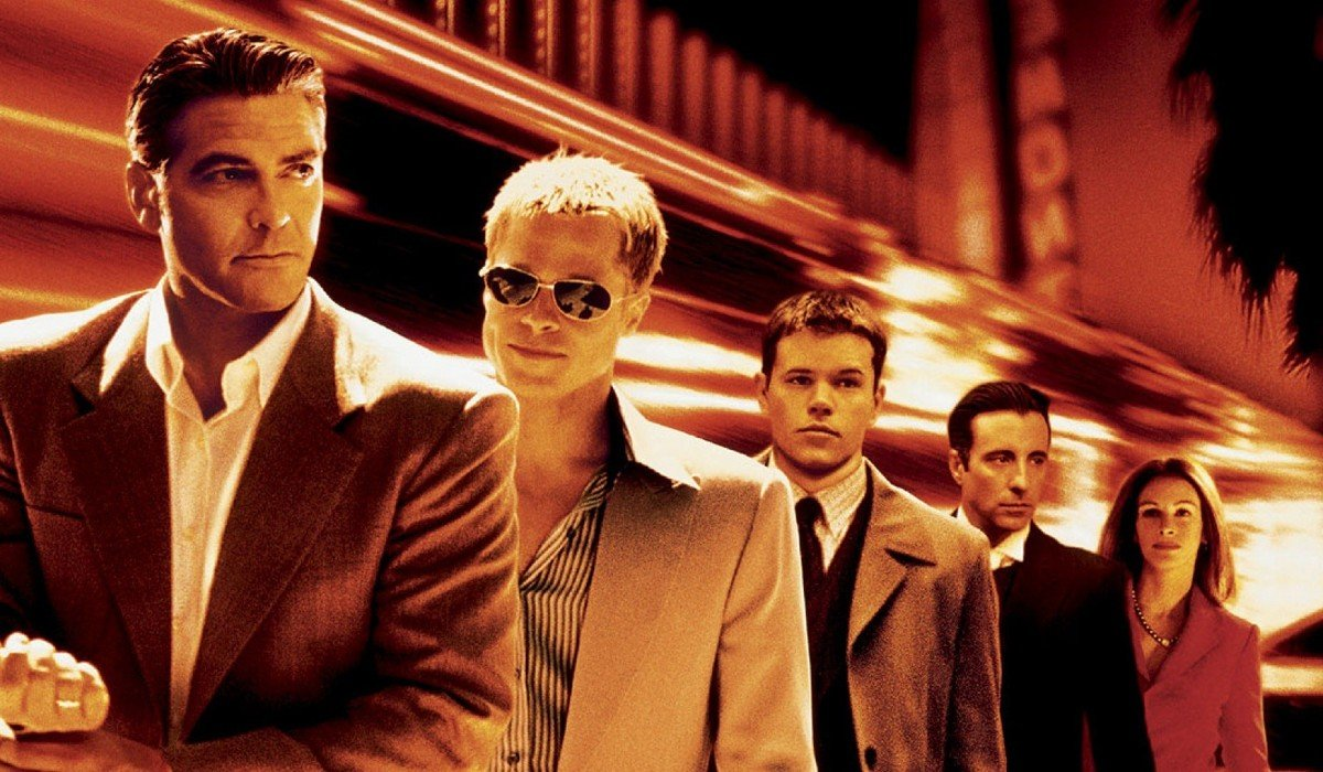 Ocean's Eleven George Clooney, Brad Pitt, Matt Damon, Andy Garcia, and Julia Roberts line up in front of a casino