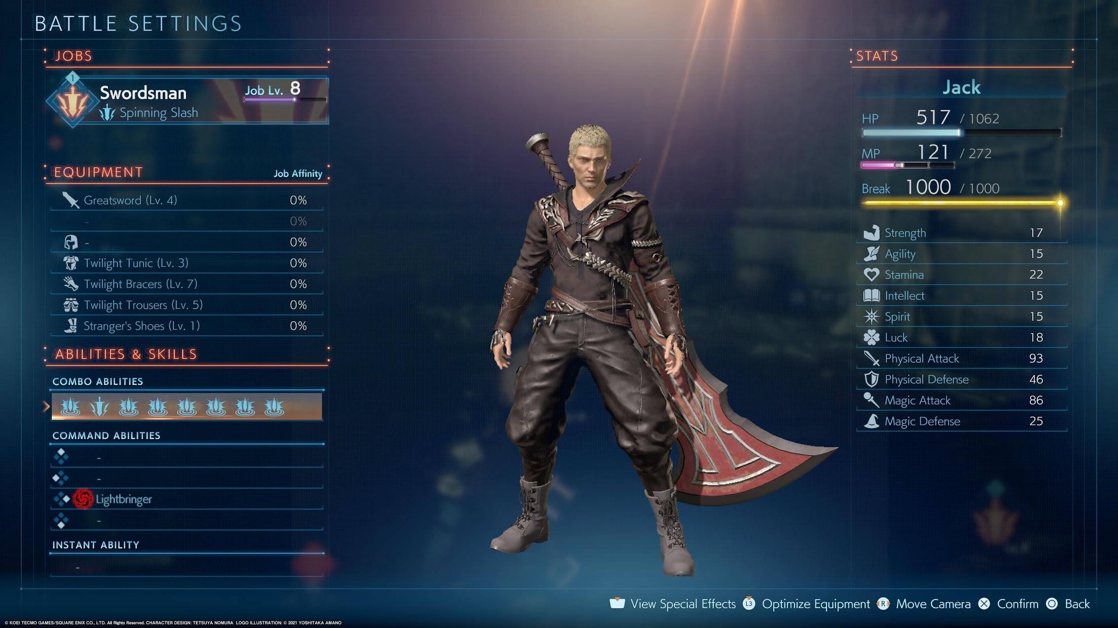Final Fantasy Origin Battle Settings screen
