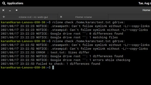 Rclone's command line interface in use
