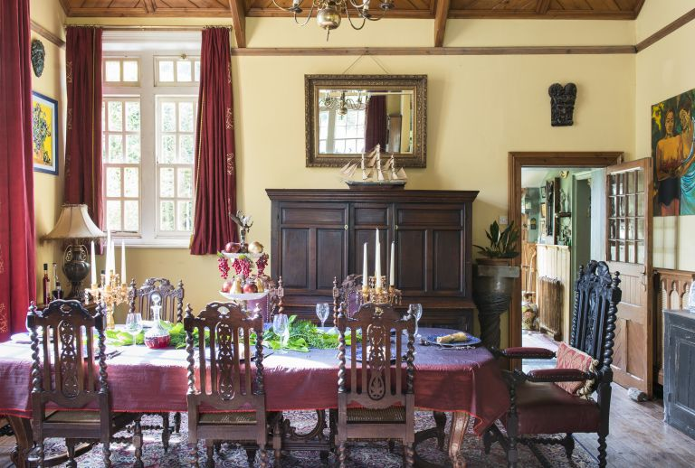 dining room in a converted schoolhouse