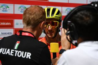 Race leader Adam Yates (Mitchelton-Scott) talks to the media ahead of stage 5 – which would turn out to be the final stage – of the 2020 UAE Tour