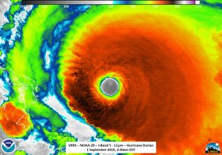 hurricane dorian weather satellite infrared reveals it as a category 5 storm on sept. 1