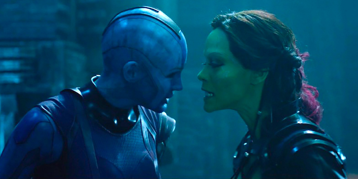 Nebula and Gamora in Guardians of the Galaxy