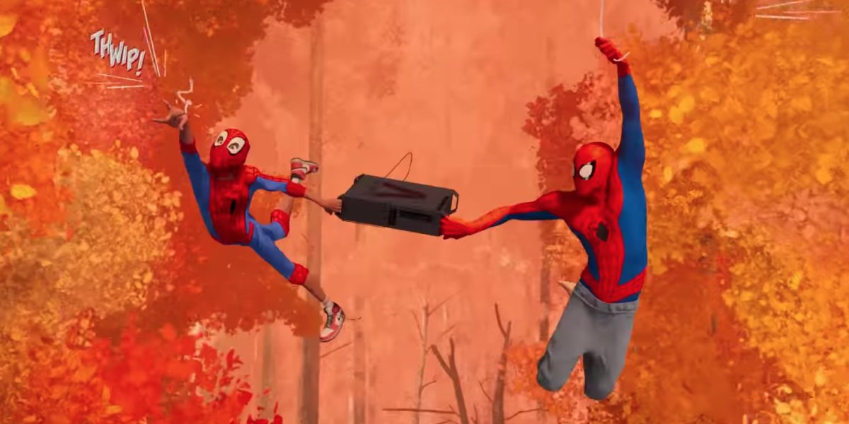 Miles Morales and Peter B. Parker swing webs in Spider-Man: Into the Spider-Verse