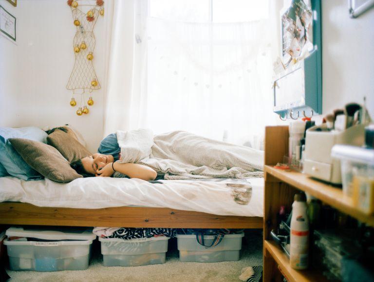 girl in dorm room