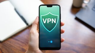 Cell phone with a 'VPN' logo
