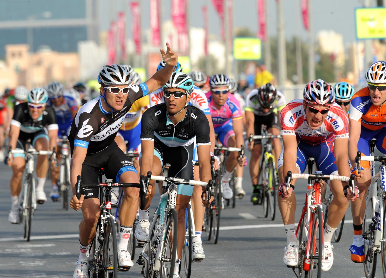 Heinrich Haussler wins, Tour of Qatar stage two