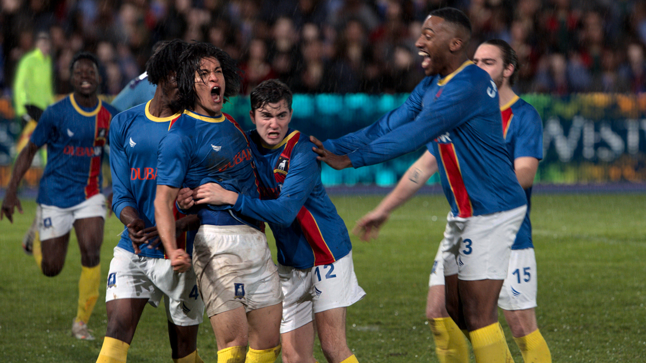 AFC Richmond players celebrate a goal in Ted Lasso season 1