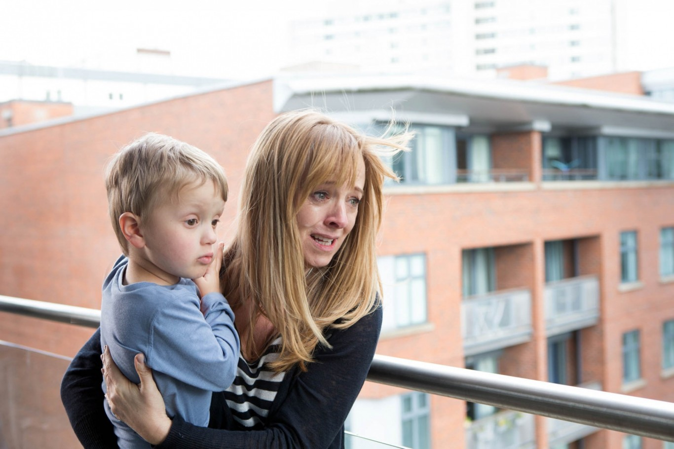 Coronation Street's Jenny Bradley with Jack on the balcony