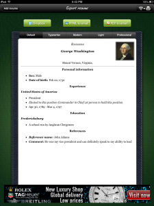 Class Tech Tips: iPad Project: Resume Builder