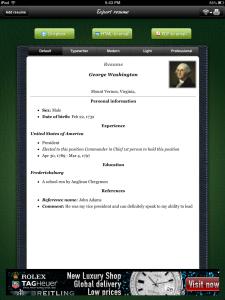 Class Tech Tips: iPad Project: Resume Builder