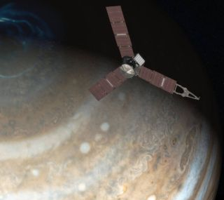 NASA's Juno spacecraft flies above Jupiter's north pole in this artist's illustration.