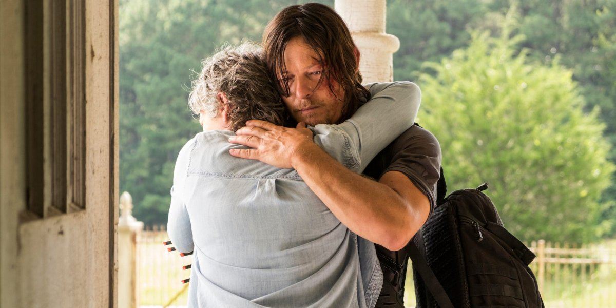 Daryl meets Carol in her new home in The Walking Dead.