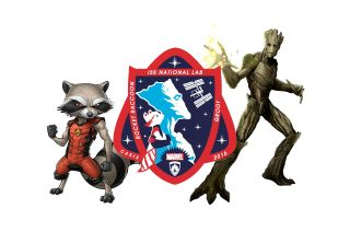 "A patch representing all of the payloads launching to the U.S. National Laboratory aboard the International Space Station in 2016 features Marvel Comics' Rocket Raccoon and Groot from ""Guardians of the Galaxy."""