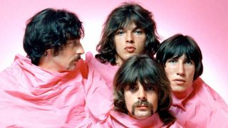 Pink Floyd covered by a pink sheet in 1969