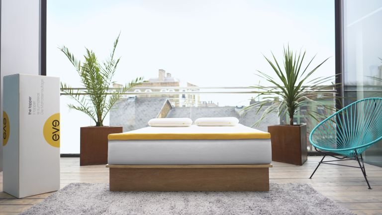 eve mattress topper in a room with open windows from the best mattress topper list