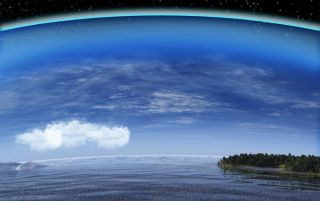 view of Earth and cloud cover