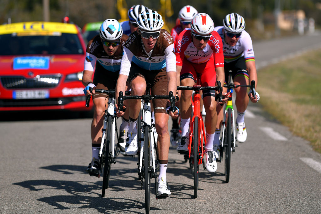 APT FRANCE MARCH 13 Alexis Gougeard of France and Team AG2R La Mondiale Romain Bardet of France and Team AG2R La Mondiale Anthony Perez of France and Team Cofidis Solution Credits Mads Pedersen of Denmark and Team Trek Segafredo World Champion Jersey during the 78th Paris Nice 2020 Stage 6 a 1615km stage from Sorgues to Apt 234m ParisNice parisnicecourse PN on March 13 2020 in Apt France Photo by Luc ClaessenGetty Images