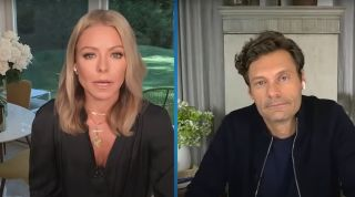 Kelly Ripa and Ryan Seacrest discussing the death of Regis Philbin on 'Live with Kelly and Ryan'