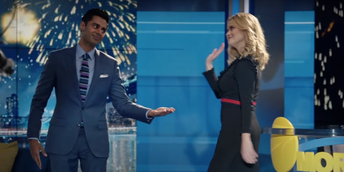 Reese Witherspoon and Hasan Minhaj in The Morning Show