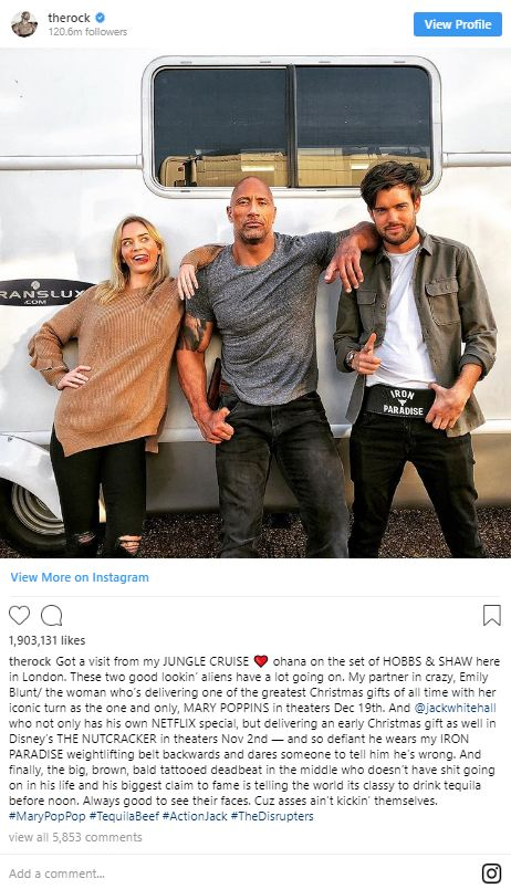 The Rock, Emily Blunt, and Jack Whitehall on Istagram