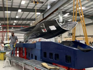 An image tweeted by Stratolaunch shows half a prototype skin for the company's Talon-A reusable hypersonic vehicle.