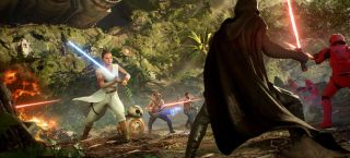 Star Wars Battlefront 2 Rey fighting