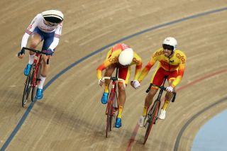 Spain's Sebastián Mora and Albert Torres compete in the Madison at the 2018 Track World Cup in London, in the UK