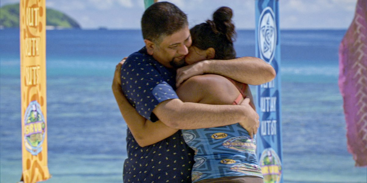 Survivor Karishma hugs husband on family visit