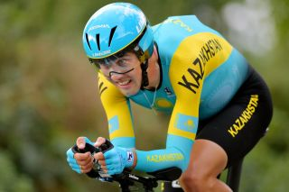 Kazakhstan's Daniil Fominykh during the individual time trial at the 2019 UCI Road World Championships in Yorkshire