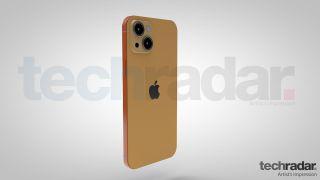 Taiteilijan näkemys iPhone 13:sta oranssin värisenä