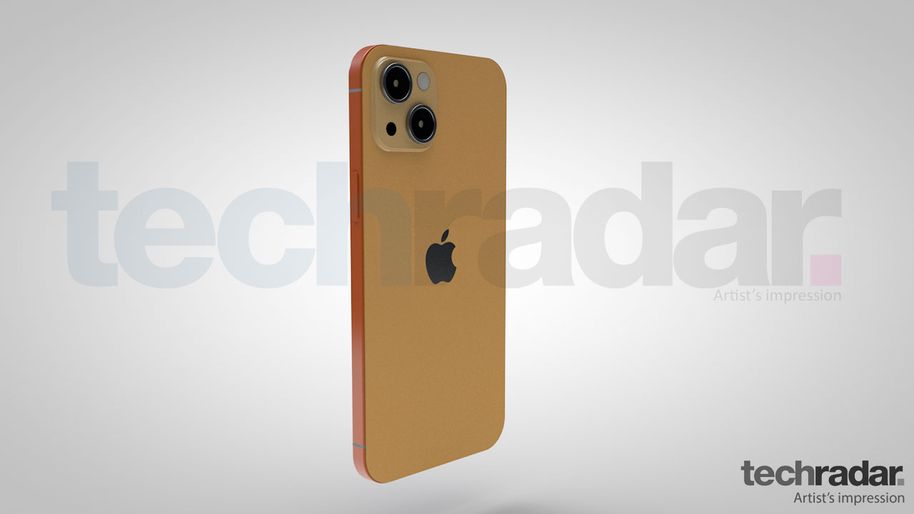 An artist's impression of the iPhone 13 in an orange shade showing the right hand edge of the phone