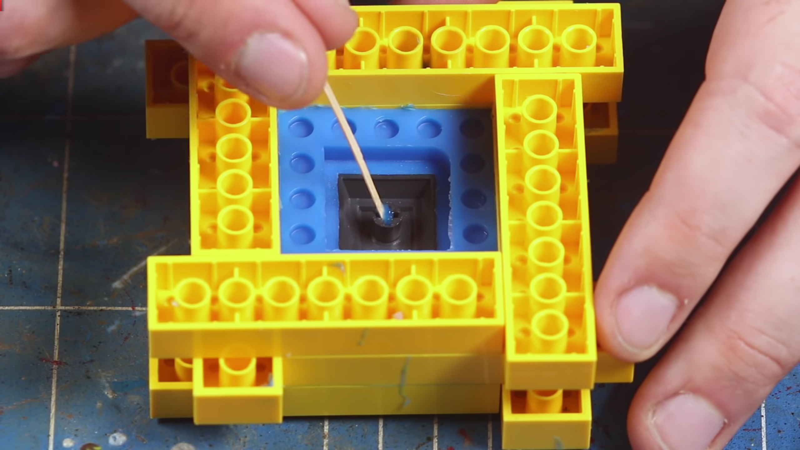 Lego bricks being used in the resin cast process