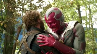 Captain America (Chris Evans) and Vision (Paul Bettany) laughing during the Avengers: Infinity War gag reel