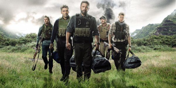Triple Frontier the team walks through the jungle armed and with bags full of money