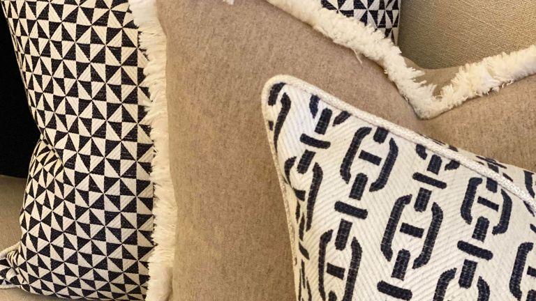 Burlington, Andrew Martin, Sophie Paterson, soft furnishing, Mayfair, London, patterned, cushion