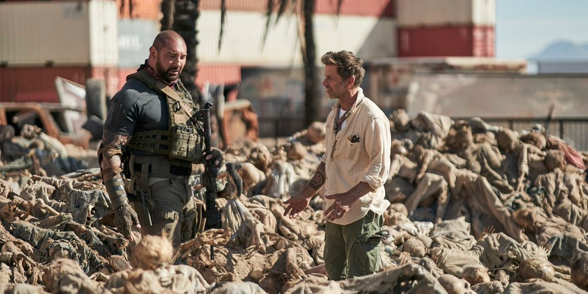 Zack Snyder and Dave Bautista on set in Army Of The Dead