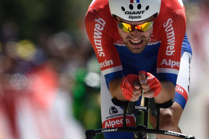 Tom Dumoulin is focused during the stage 13 time trial at the Tour de France.