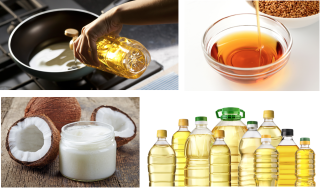 A collage of photos of cooking oils