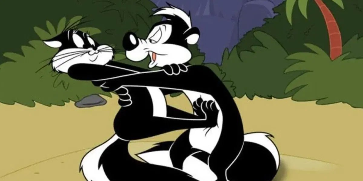 Pepe le Pew attacks Penelope with a kiss in Looney Tunes