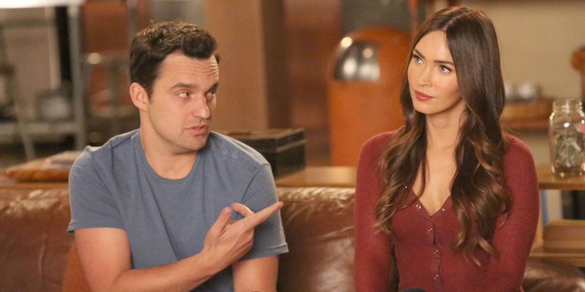 Jake Johnson and Megan Fox as Nick Miller and Reagan in New Girl