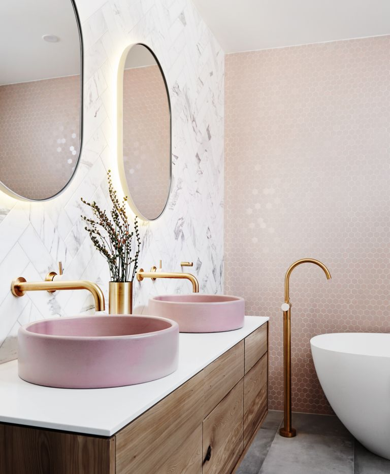 pink colourful bathroom with vanity by norsu interiors