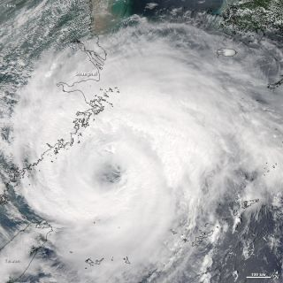Typhoon Haikui seen offshore of China in a satellite image