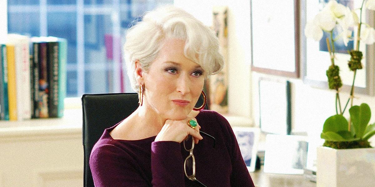 Miranda Priestly (Meryl Streep) sits at her desk and glares in a scene from 'The Devil Wears Prada'